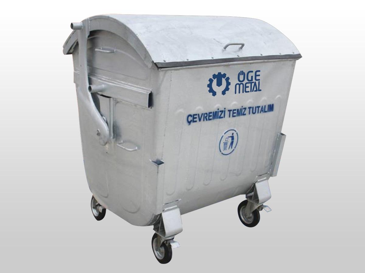 1100 Litre Kubbe Kapaklı Sıcak Daldırma Galvaniz Çöp Konteyneri