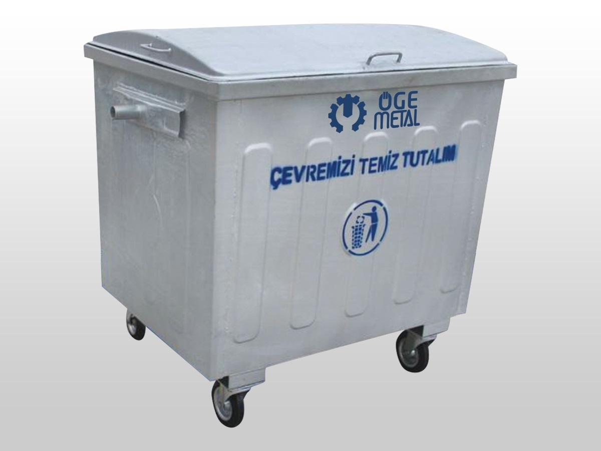 1100 Litre Yarı Kubbe Kapaklı Sıcak Daldırma Galvaniz Çöp Konteyneri